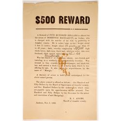 1889 Jackson Murderer Wanted Handbill  (89366)
