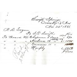 Swift's Station 1881 Note and Payroll for Logging Mill  (99452)