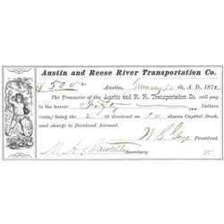 Austin & Reese River Transporation Company Dividend Receipt  (99481)