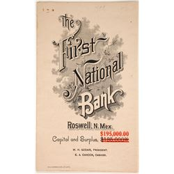 First National Bank, Roswell, NM Statement  (90294)