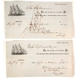 1857 New York Port Warden's Receipts  (58956)