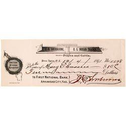 J.H. Sherburne, U.S. Indian Trader Check, Oklahoma Territory, 1891  (78120)