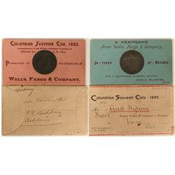 Very Rare Wells Fargo Columbian Expo Souvenir Coin and Holder  (100070)