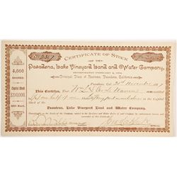 Pasadena Lake Vineyard Land and Water Company Stock  (90463)