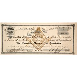 Placerville Masonic Hall Association Stock Certificate, 1897  (90589)