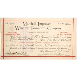 Marshall Improved Window Furniture Company Stock  (90497)
