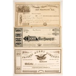 Three early unissued San Francisco Stocks  (88171)