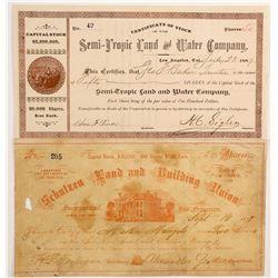 Two California Land Company Stocks: San Francisco and Los Angeles  (88166)