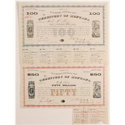Two Territory of Montana Bonds: $50 and $100  (90416)