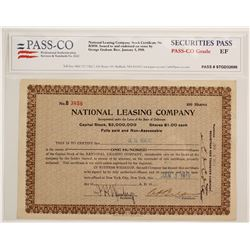 National Leasing Co Stock with GG Rice Sig  (90581)