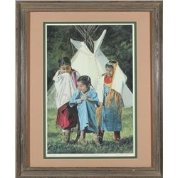 Framed Native American Children Print by Charles Hogg  (87637)