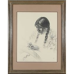 Framed Native American Woman Print by Caples  (87617)