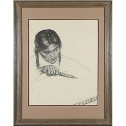 Native American with Bow and Arrow Charcoal by Caples  (87654)