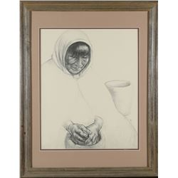 Native American Woman Charcoal by Caples  (87657)