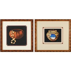 Robert Montanucci Framed Prints of Native American Basketses (2)  (87738)