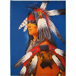 Feathered Native American Man - Serigraph by Enoch Kelly Haney  (101030)
