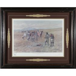 Framed Capt Lewis Print by Charles Russell  (87615)