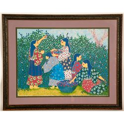 Gathering Berries - Litho by Virginia Stroud  (101003)