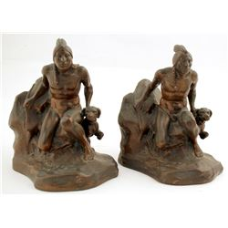 Native American Plaster Bookends by C. Vieth  (87107)