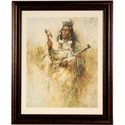Native American with a Pipe - Print by Howard Terpning  (101015)