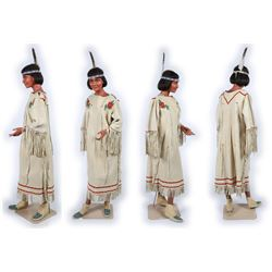 Native American Mannequin with Dress, Moccasins, & Headband  (91263)