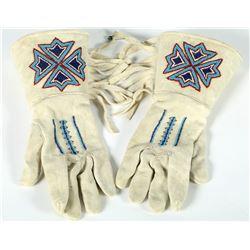 Gauntlet Buckskin Gloves, Fringed  (87503)