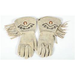 Large Buckskin Gloves, Beaded  (87506)