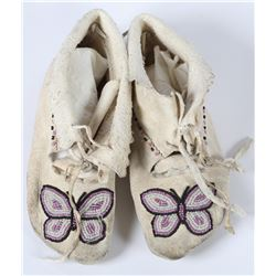 Bannock/Paiute girl sized Butterfly Beaded Moccasins  (87514)