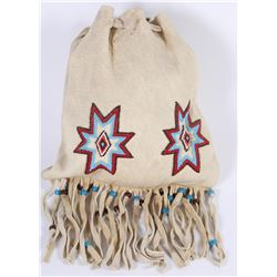 Paiute Beaded Draw String Tobacco Bag  (85954)