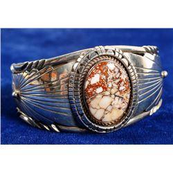 Navajo Crazy Horse Silver Bracelet  (90692)