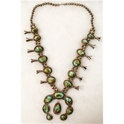 Navajo Turquoise Squash Blossom Necklace  (90661)