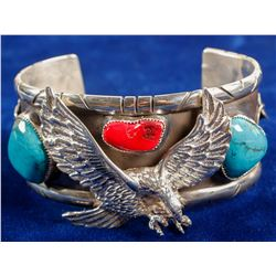 Cuff of Silver, Turquoise & Coral  (90687)