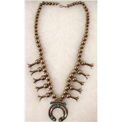 Vintage Navajo Squash Blossom Necklace  (90669)