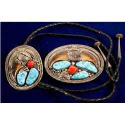 Navajo Matching Bolo & Belt buckle  (88207)