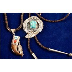 Navajo Necklace and Bolo Tie  (88216)