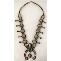 Navajo Turquoise Squash Blossom Necklace  (90667)