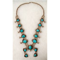 Navajo Turquoise Squash Blossom Necklace  (90666)