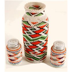 Paiute Beaded Bottle and Salt Shakers  (90567)