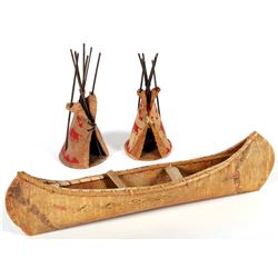 Birch Bark Canoe & 2 Teepees  (87873)