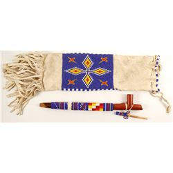 Sioux Beaded Red Clay Pipe with Beaded Handle  (91166)