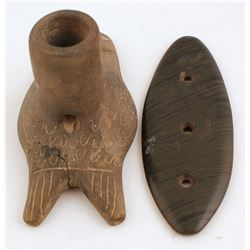 Clay Fish Pipe and Carved Adornment  (98010)