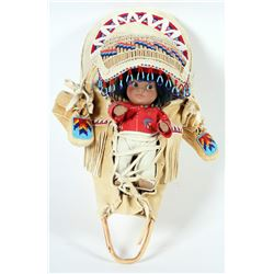 Baby Basket with Doll and Moccasins  (87537)