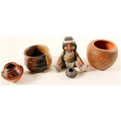 Pottery (Native American) 4 small pots & 1 small figurine  (90700)