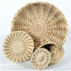 Papago Platters (2)  and Lidded Small Basket  (87563)