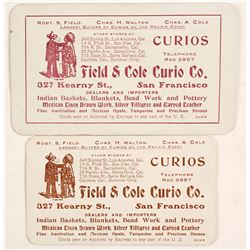 Field & Cole Curio, Indian Baskets etc, Business Cards (2)  (88310)