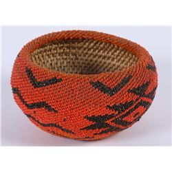 Red & Black Beaded Paiute Basket  (87836)