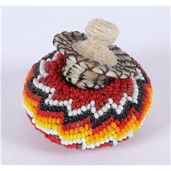 Miniature Horsehair Beaded Basket  (85943)