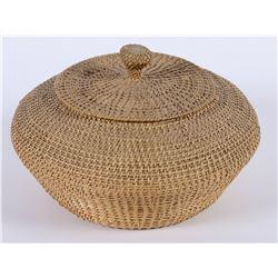 Large Lidded Washoe Lazy Stitch Basket  (85966)