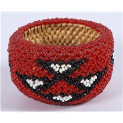 Red, White & Black Paiute Beaded Basket by Bernadine Delorme (85975)