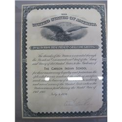 Calvin Collidge Signed Native American WWI Loyalty Document  (86869)